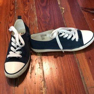 Blue satin sneakers